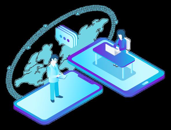 Online Communication Illustration