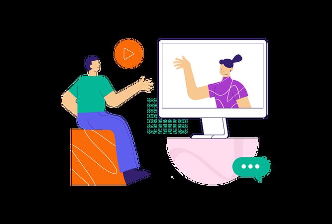 Online conference Illustration