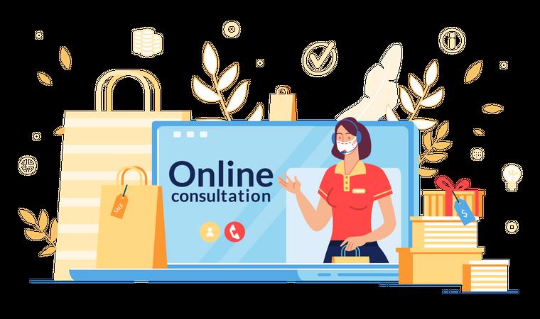 Online Consultation during Coronavirus Outbreak Illustration