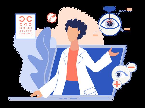 Online Consultation for eyesight Illustration