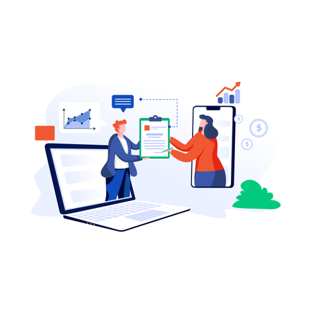 Online contract signing Illustration