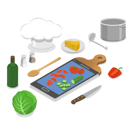 Online Cooking Class Illustration