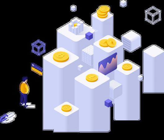 Online cryptocurrency exchange Illustration