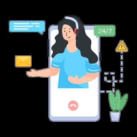 Online customer assistant Illustration