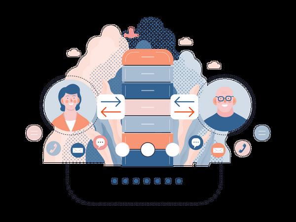 Online customer chat Illustration