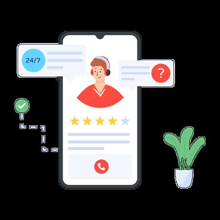 Online customer support Illustration