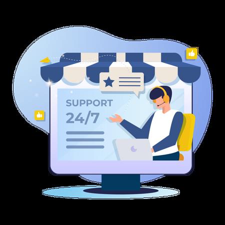 Online customer support for shopping website Illustration