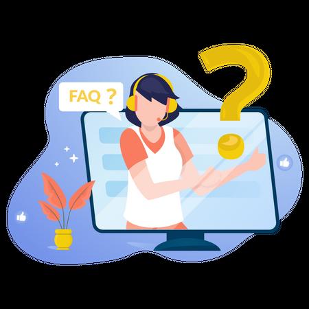 Online customer support with FAQ Illustration
