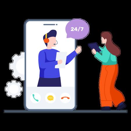 Online Customer Video Support Illustration