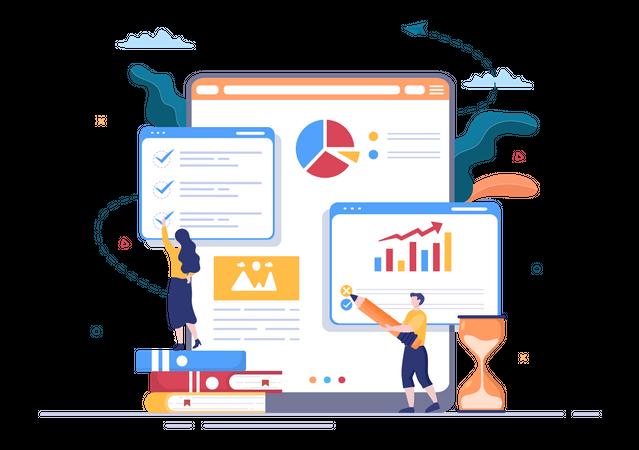 Online data examination Illustration