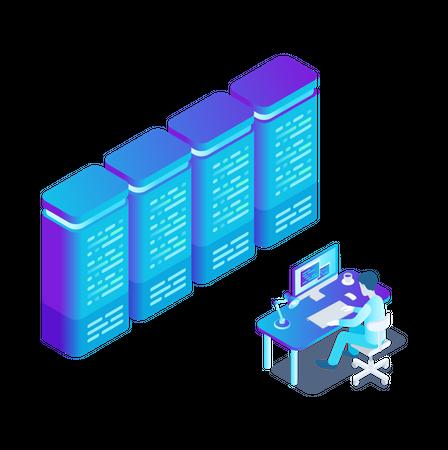 Online Data Hosting Server Illustration