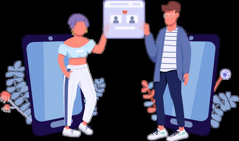 Online dating app Illustration