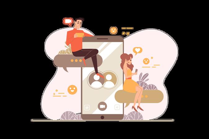 Online dating call Illustration