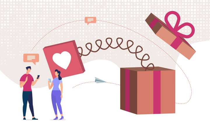Online Dating, Love Declaration Online Illustration