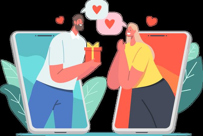 Online Dating Romance Illustration