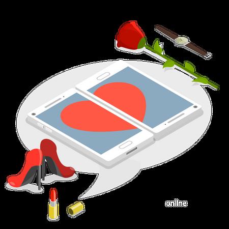 Online dating service Illustration