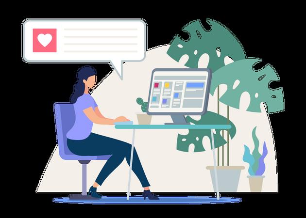 Online dating service, Online chatting concept Illustration