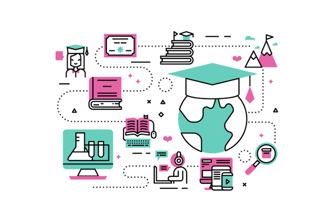 Online Degree line icons illustration Illustration