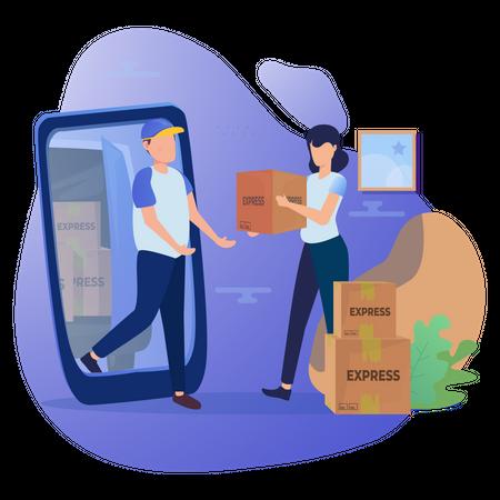 Online Delivery Booking Illustration