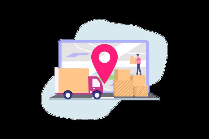 Online delivery service concept Illustration