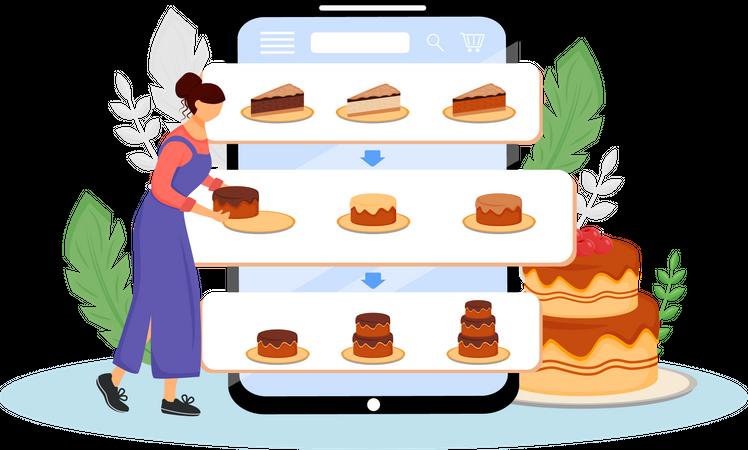 Online dessert order Illustration