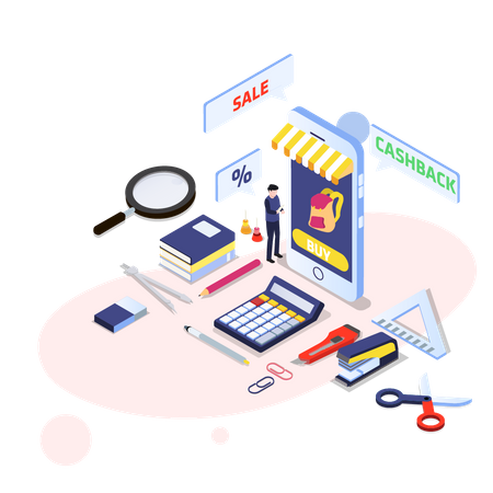 Online discount on stationery items Illustration
