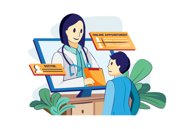 Online doctor appointment Illustration