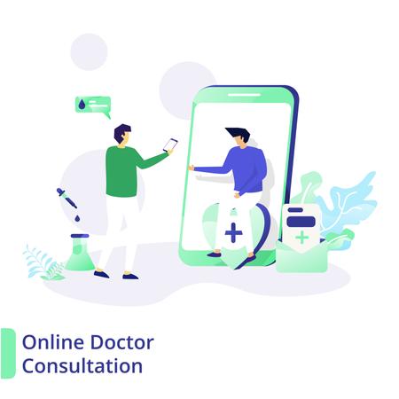 Online Doctor Consultation Illustration