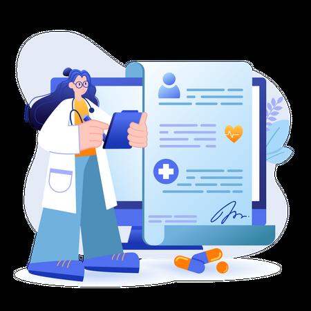 Online Doctor Prescription Illustration