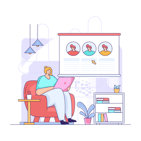 Online Education class Illustration