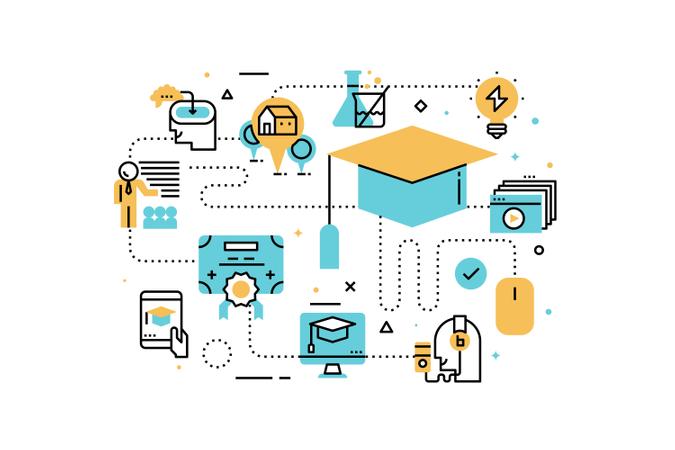 Online education line icons illustration Illustration