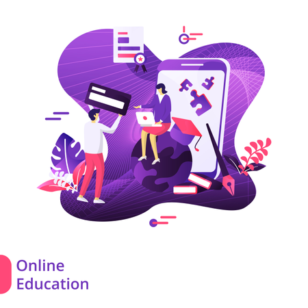 Online Education Modern Illustration Illustration