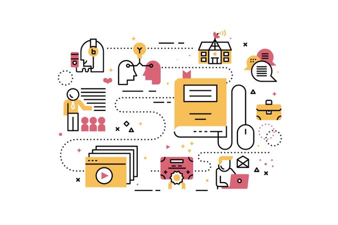 Online education training line icons illustration Illustration