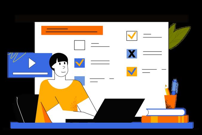 Online Exam Test Illustration