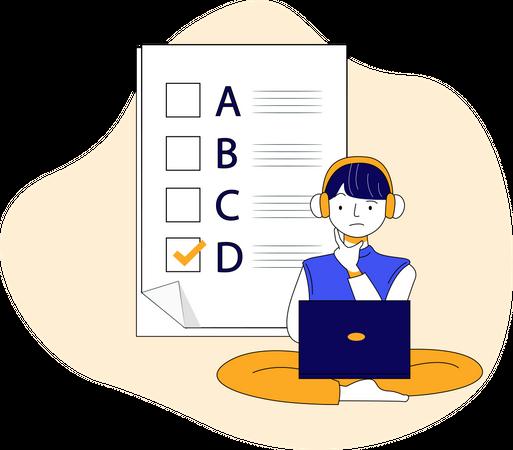 Online examination Illustration