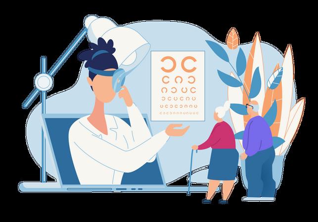 Online Eye vision testing chart Illustration