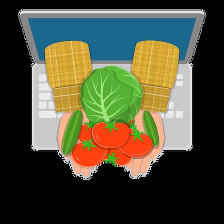 Online farming Illustration