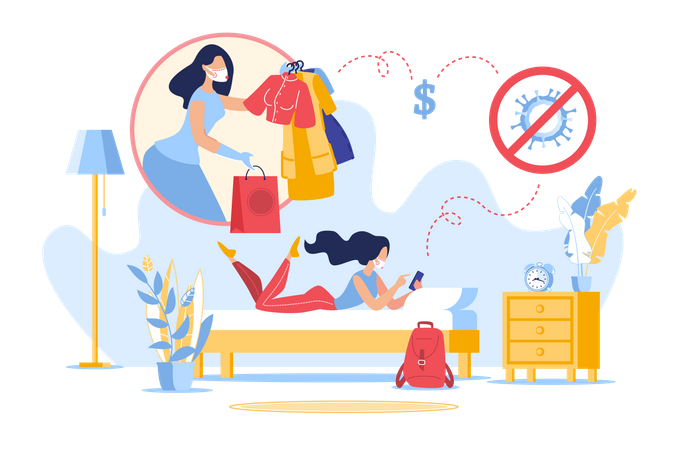 Online Fashion Shopping from Home in Quarantine Illustration