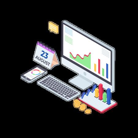 Online Financial Report Illustration