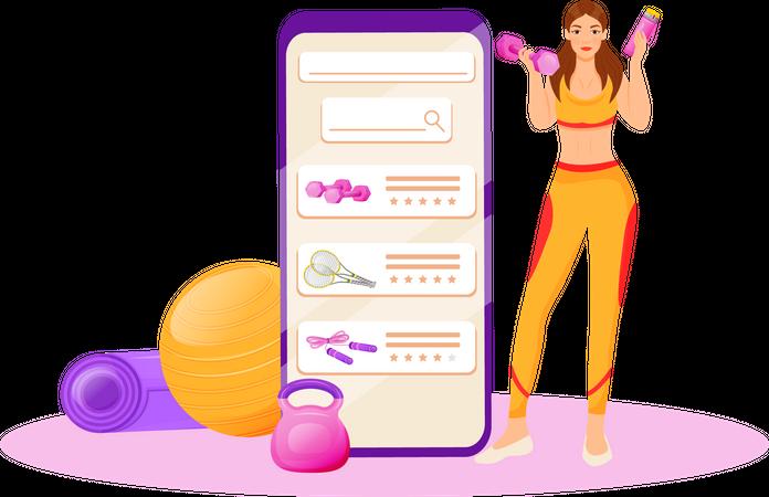 Online fitness app Illustration