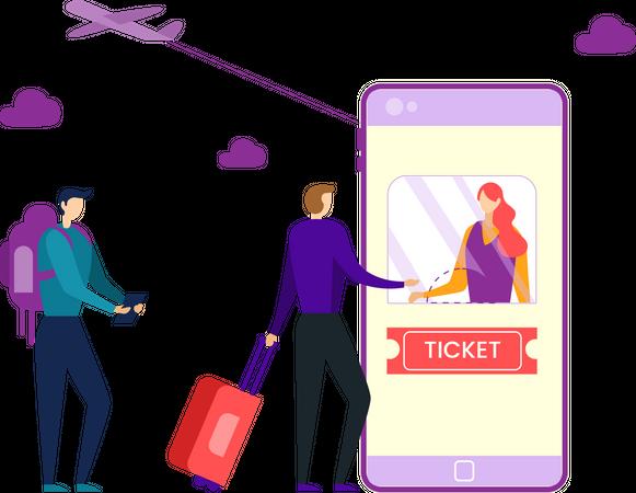 Online flight ticket booking Illustration