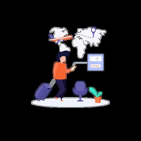 Online Flight Ticket Booking concept Illustration
