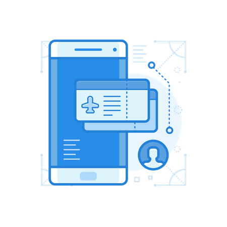 Online Flight Ticket Booking Details In Smartphone Illustration