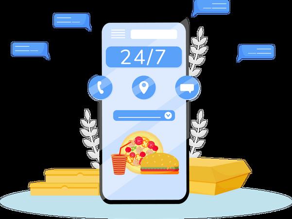 Online food delivery app Illustration