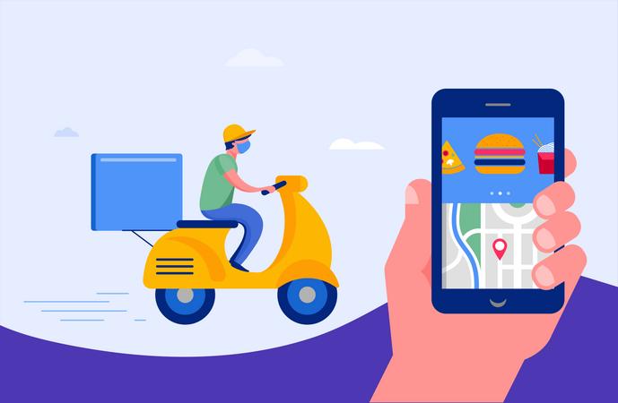 Online food delivery service Illustration