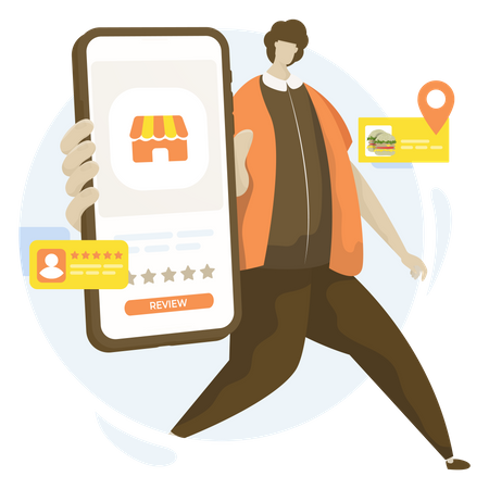 Online food store reviews Illustration