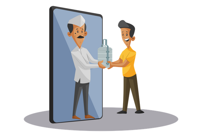 Online food tiffin order and delivery service Illustration