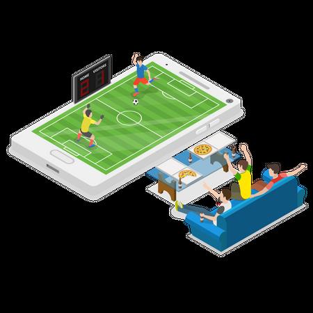 Online Football Playing Illustration