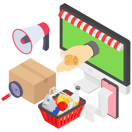 Online Glossary shop and Advertising Illustration