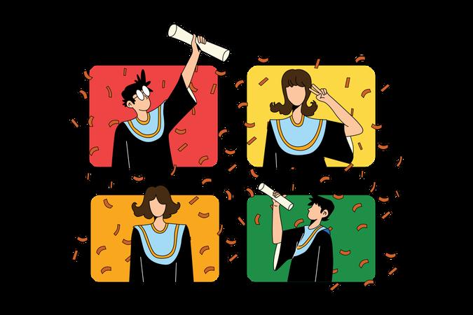 Online Graduation Illustration